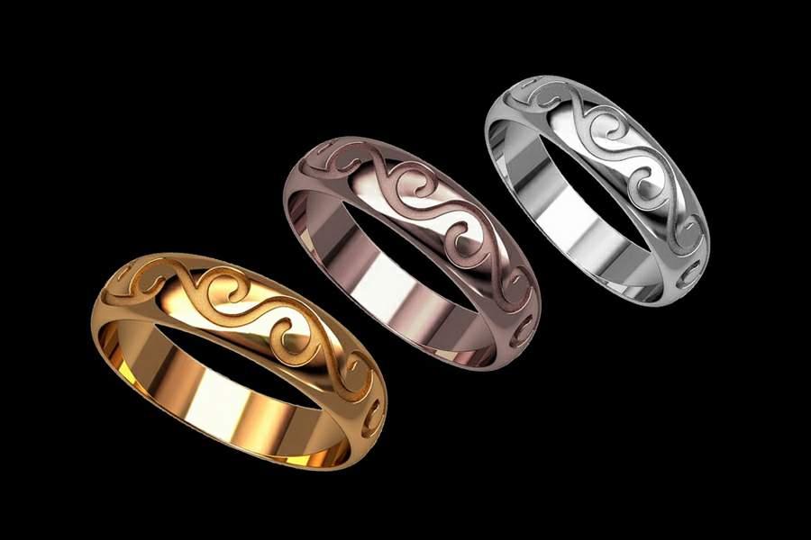 3ce006a34f91 Эксклюзивные обручальные кольца из желтого, розового или белого золота. По  индивидуальным заказам любые узоры, орнаменты, эмблемы, даты, имена и  надписи на ...